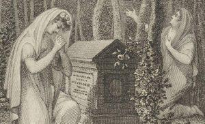prent twee vrouwen rouwen bij een graf